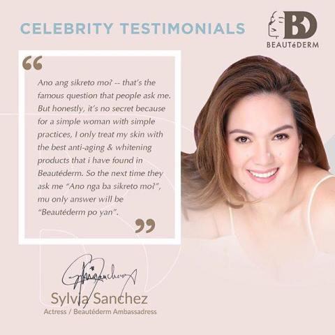 Ms. Sylvia Sanchez, Beautederm's Brand Ambassador
