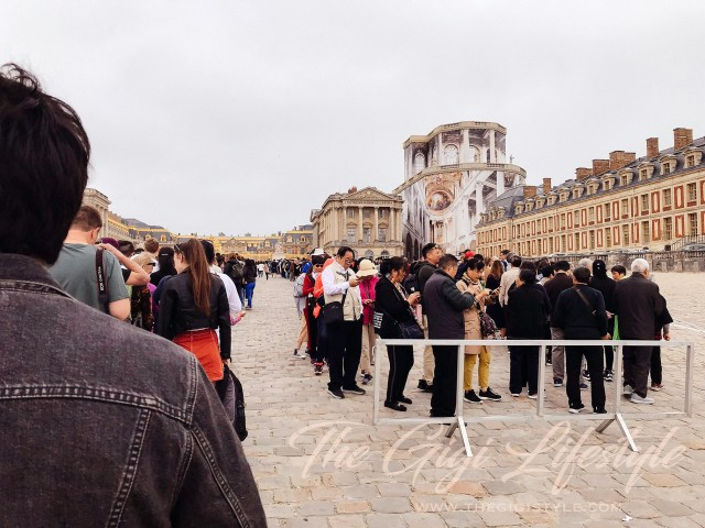 The very looooooonngggg line at the Palace of Versailles in Paris