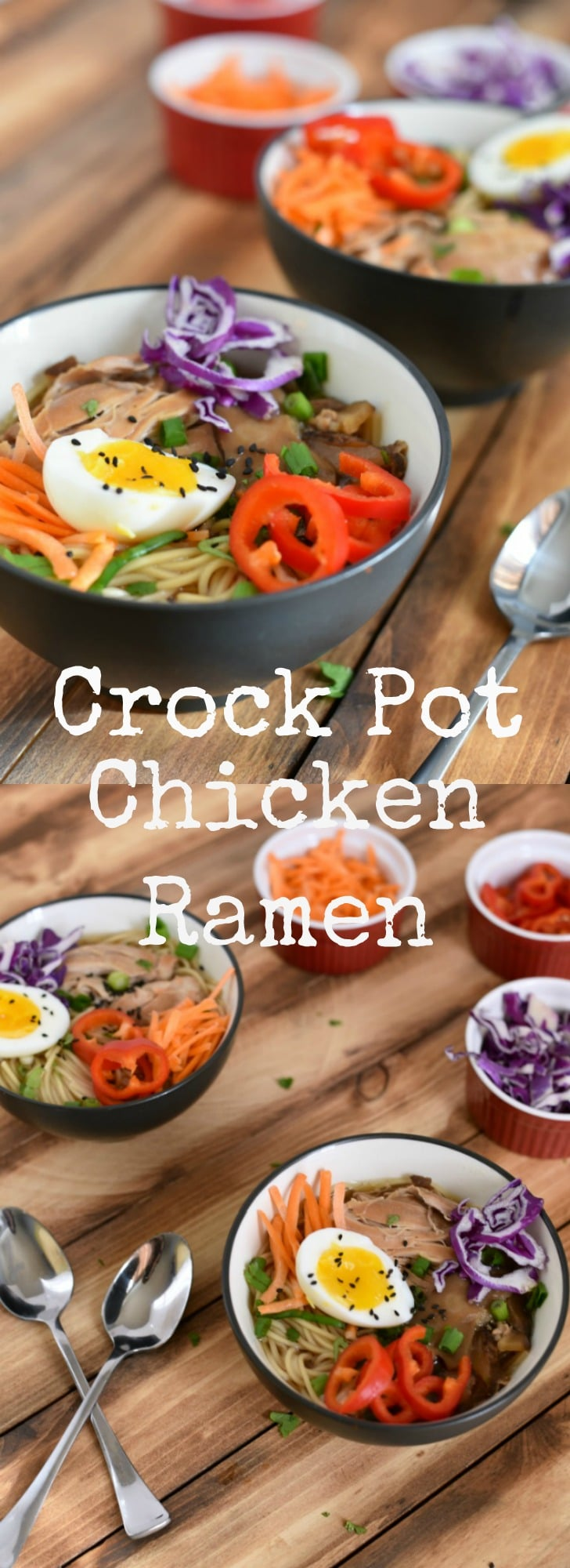 This easy and budget friendly slow cooker chicken ramen is perfect for busy nights! Packed with flavor, and a great way to get your family interested in trying new foods, too!