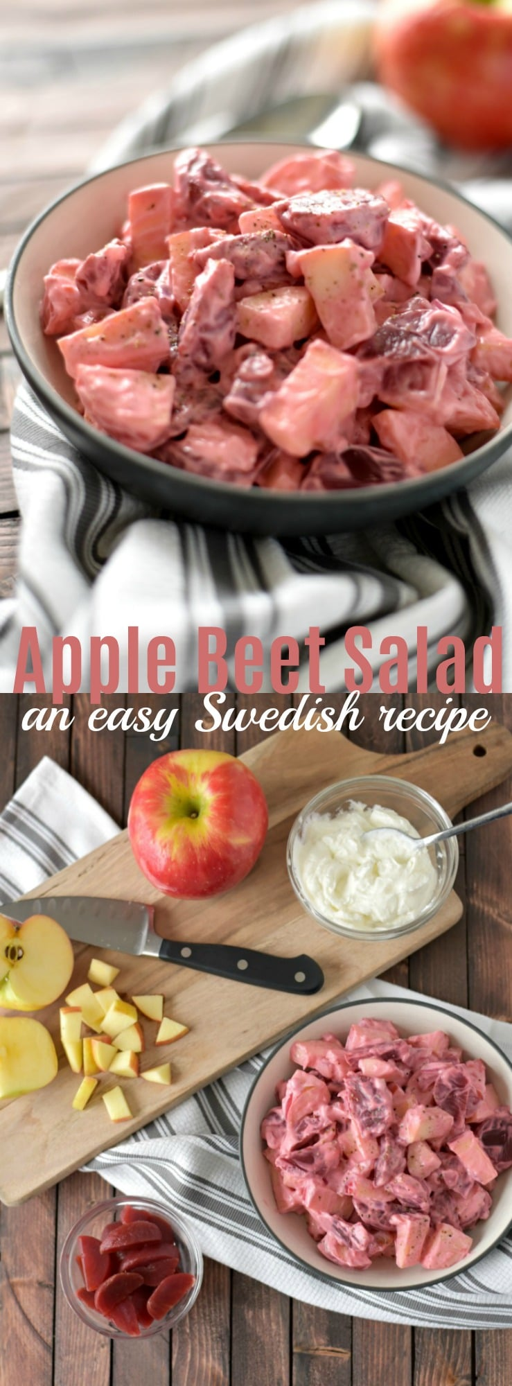 This Swedish Beet and Apple Salad is an easy & quick side dish with a lovely pink color. You only need a few ingredients & a few minutes to mix it together.