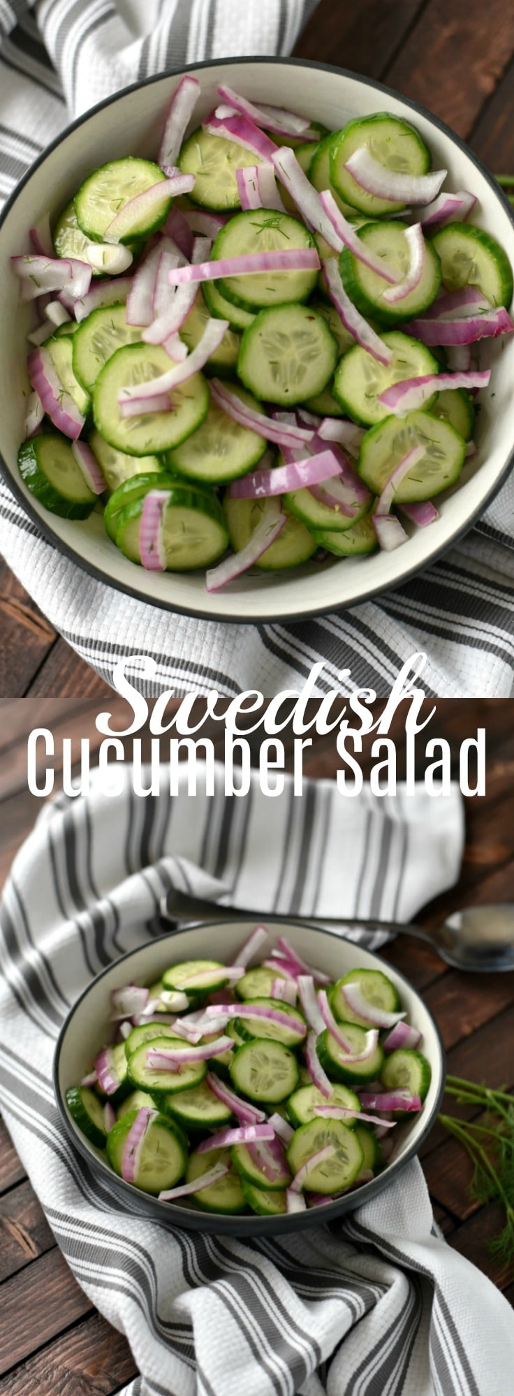 This easy cucumber salad is a perfect swedish side dish. It only takes a few ingredients and 5 minutes to put together.