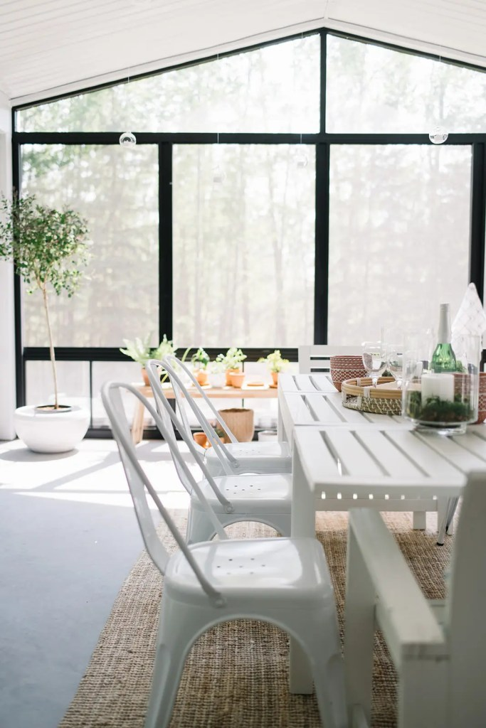 Sunroom acts as a dining room.