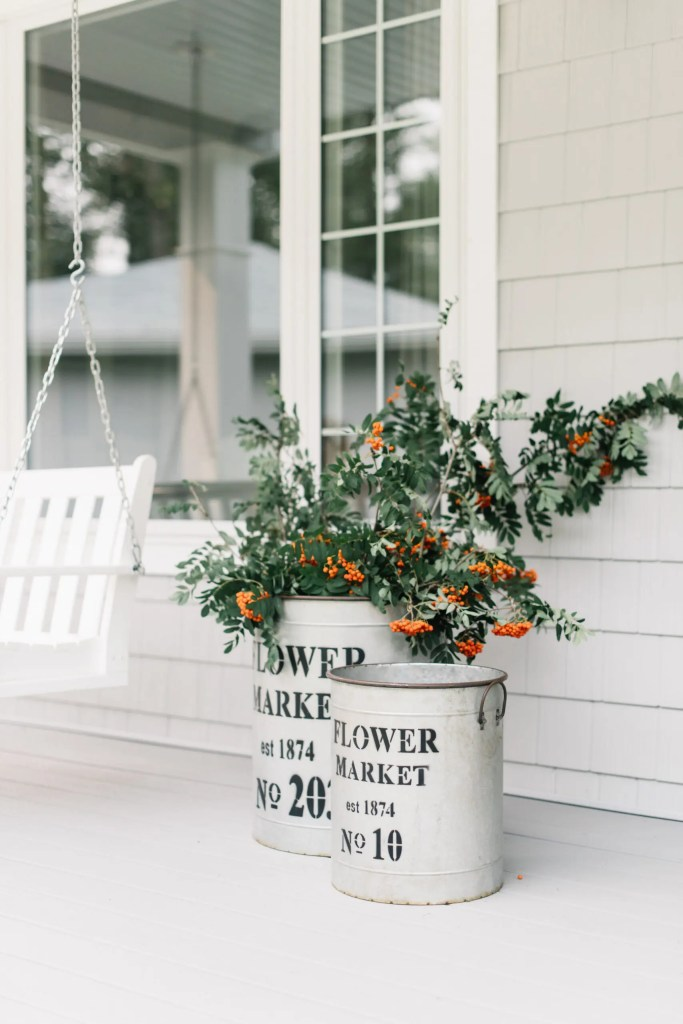 Cut branches from the yard make dramatic and free fall decor!