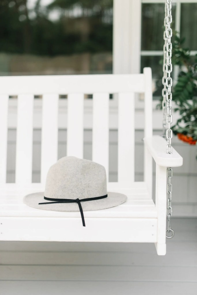 A felt hat left out on a bench or hook can look pretty as fall decor when it isn't being worn!