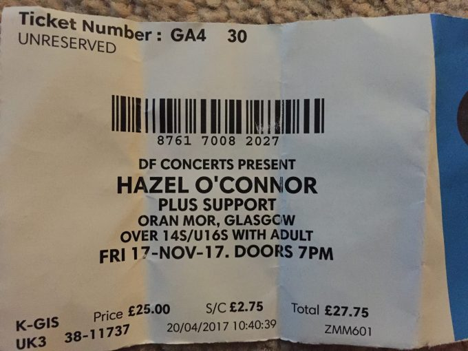 Hazel O'Connor – live in Oran Mor