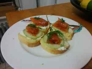 Gravlaks with cucumber and cream cheese on brioche.
