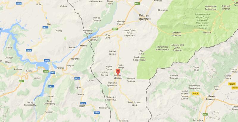 Dragash, Kosovo Map
