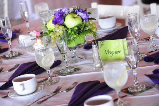Reception table setting – Photo credit Rick Bacmanski Photo Artistry