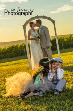 Bride & Groom with flower girl and ring bearer – Photo credit Lee Speary Photography