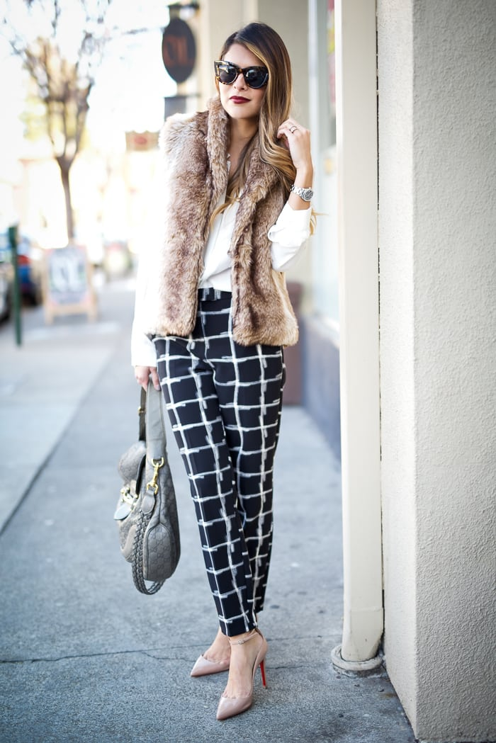Topshop Grid Printed Pants