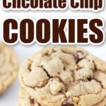 stacked peanut butter chocolate chip cookies with text overlay