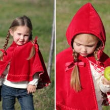 side by side photos of girl wearing red cape, one with hood up, carrying a picnic basket