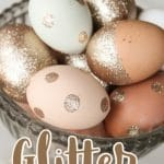 blue and brown natural eggs with metallic glitter in a silver dish with text overlay