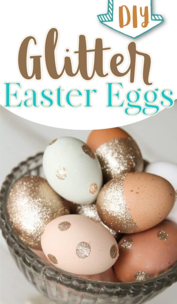 Natural colored Easter egg decorations with glitter in silver bowl with text overlay