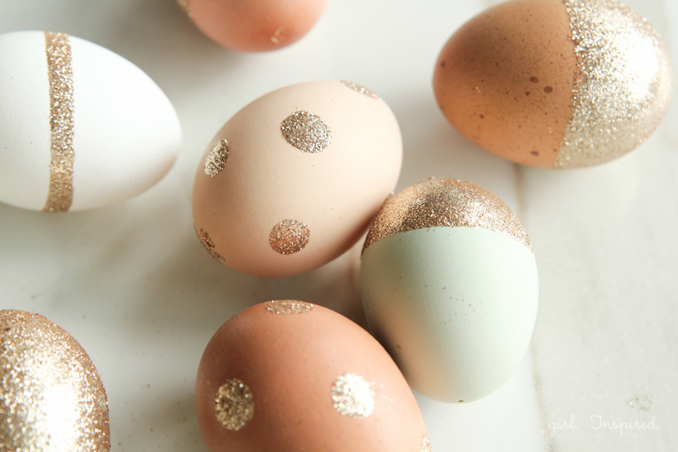 Natural colored eggs with glitter embellishments