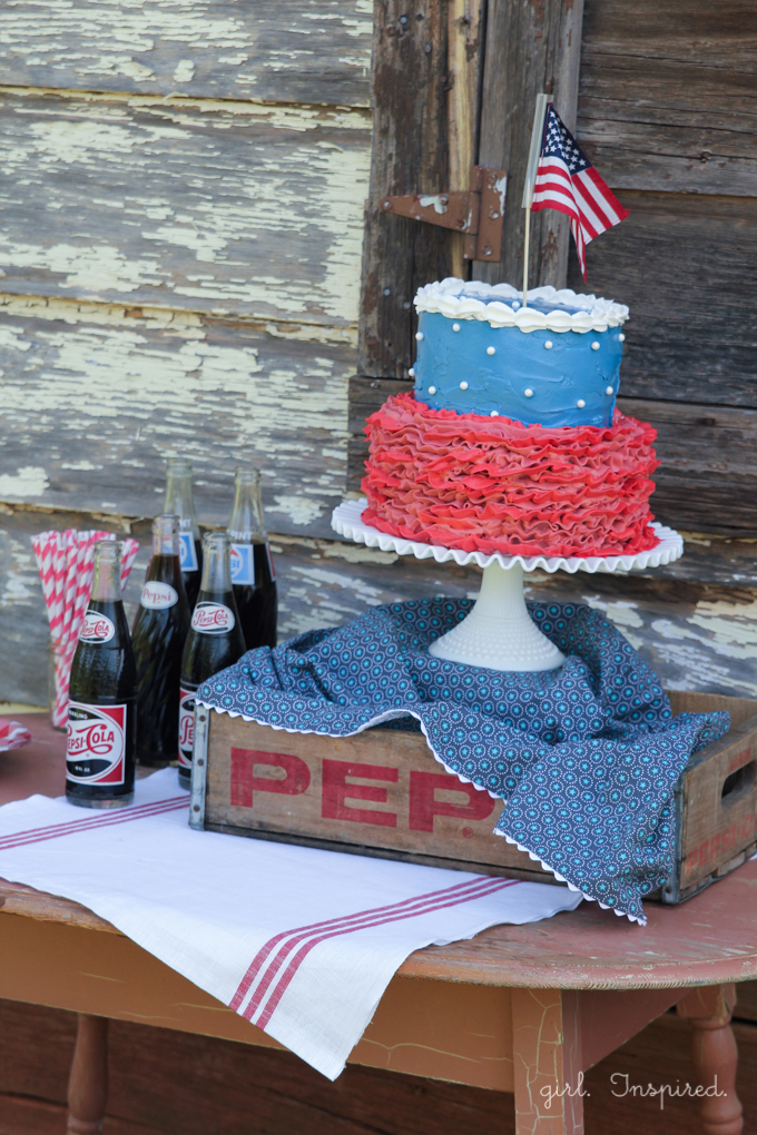 Party table display for Fourth of July