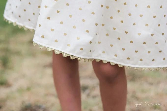 Gold Hearts Dress - dress pattern at fiveandtendesigns.com
