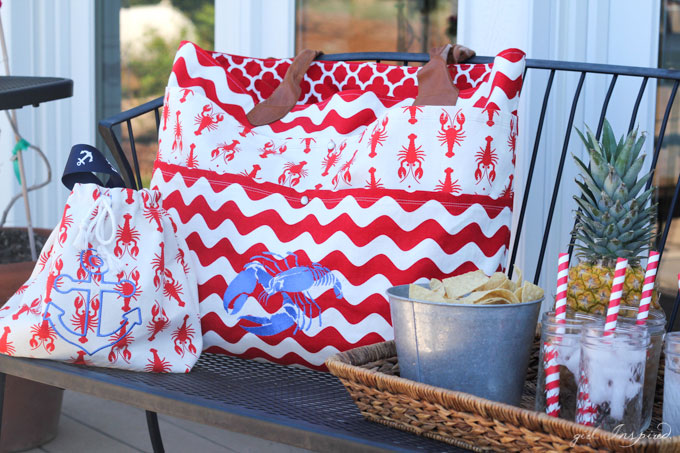 Summer Beach Bags - super cute beach bags with home dec fabric + backpack tutorial