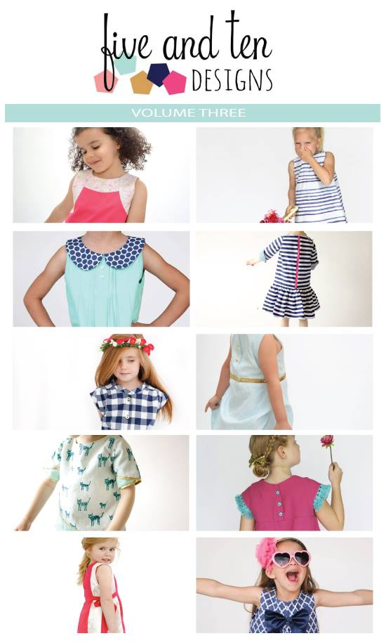 10 Girls' A-line Dress Patterns in one! The 5&10 Volume Three pattern book is available at www.fiveandtendesigns.com