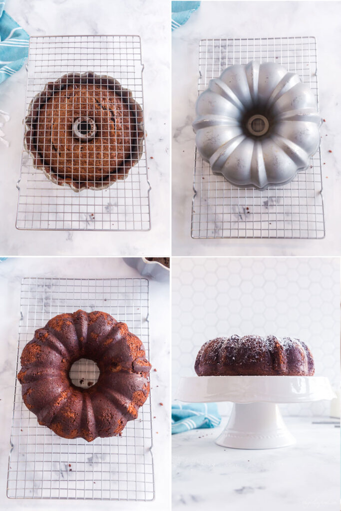 photo collage of Kahlua in silver bundt pan being cooled on cooling rack, turned over, and the removed final cake