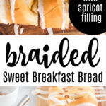 braided sweet bread on cutting board with almonds and icing with text overlay