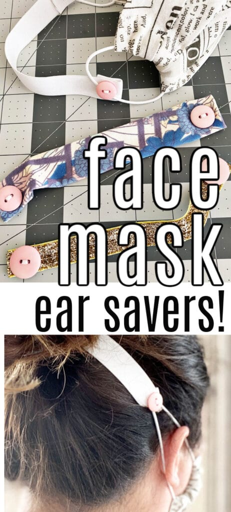 various pieces of elastic and stretchy fabric with buttons attached to the ends and  ear-saving button band for surgical face mask being worn with text overlay