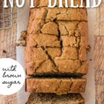 sliced banana nut bread loaf next to cooling rack, with banana peel and tea towel with text overlay