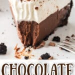 slice of chocolate cream pie on stack of white plates with one bite removed with text overlay