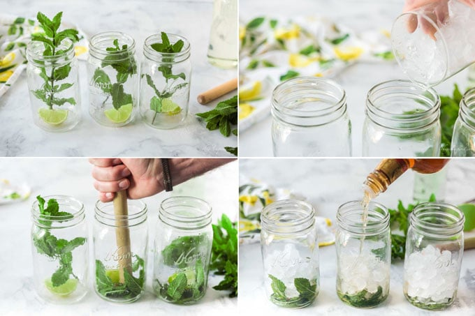 mint, lime, mason jars, and kitchen linens in collage showing step by step making of mojito recipe