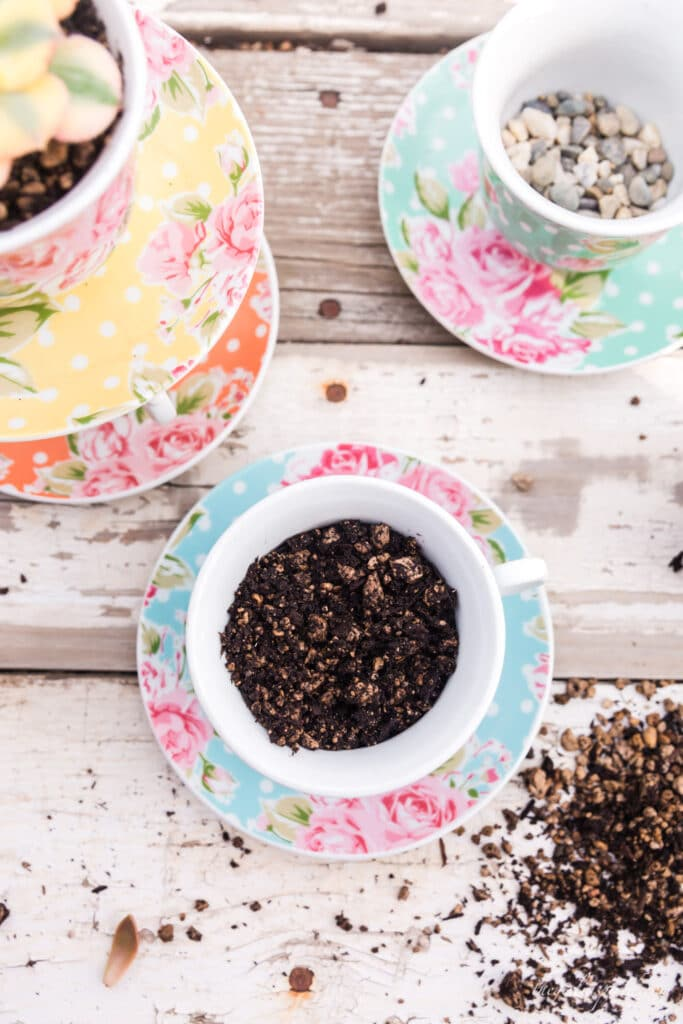 dirt, pebbles, and succulents planted in blue, orange, and yellow floral polka dot teacups