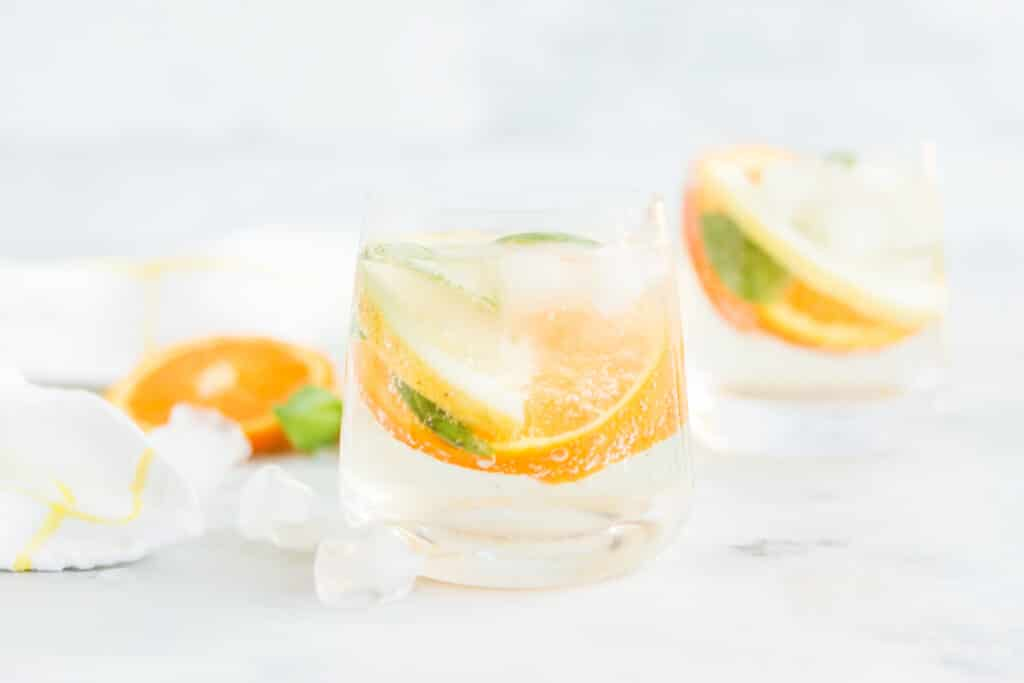 orange, lemon, and basil slices in glasses with ice and club soda