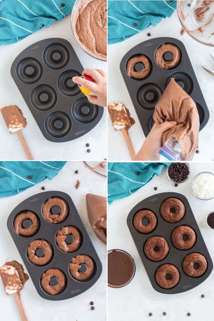 4 photo collage showing the steps to grease and fill donut pan with batter using ziploc bag, baked donuts in pan, aqua linen