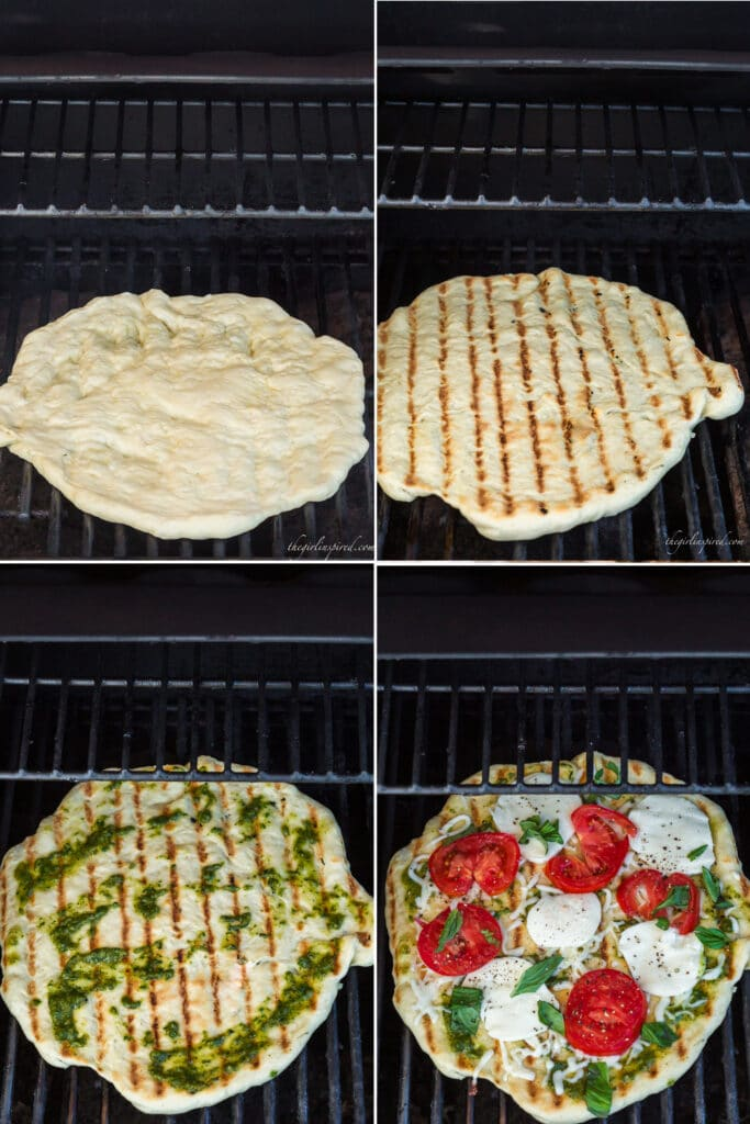 photo collage showing raw pizza dough on grill, flipped pizza dough with grill lines, pesto spread on grilled pizza dough, and cheese and tomatoes over the pesto on the grill