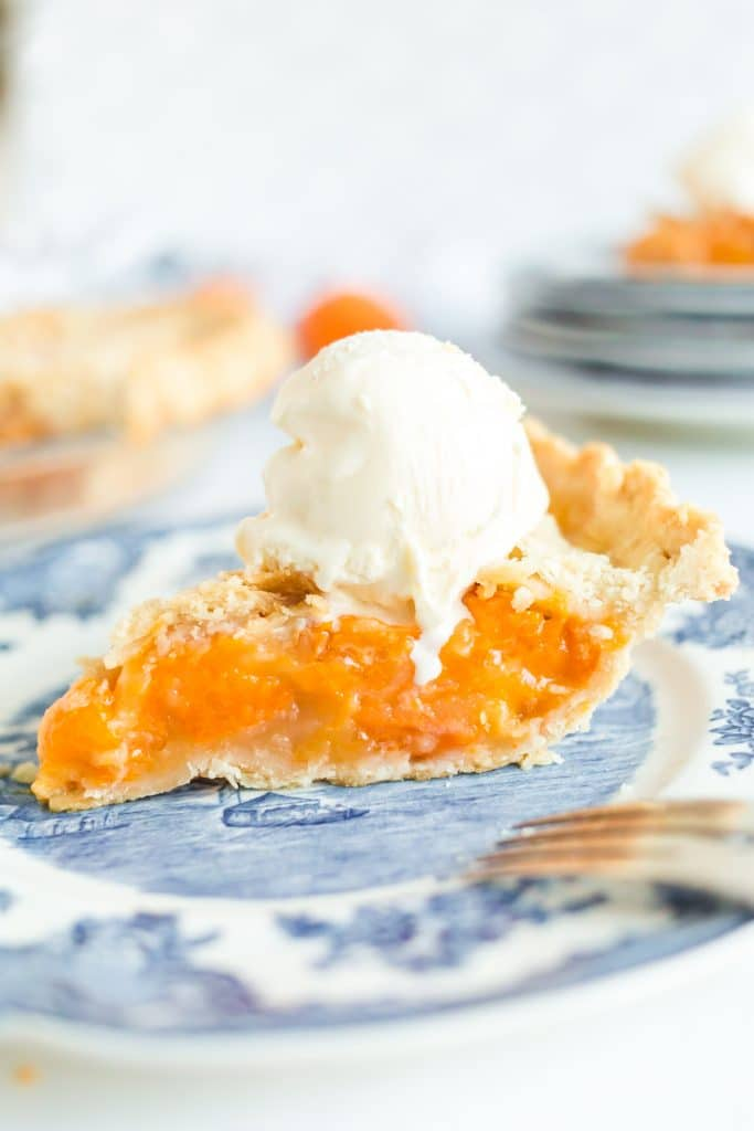 slice of apricot pie with vanilla ice cream on top on blue plate