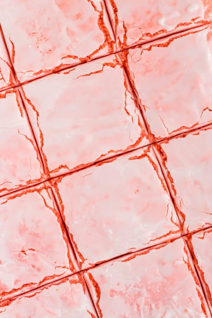 close up overhead of strawberry brownies