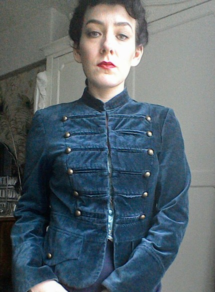 Mandarin collar military style jacket