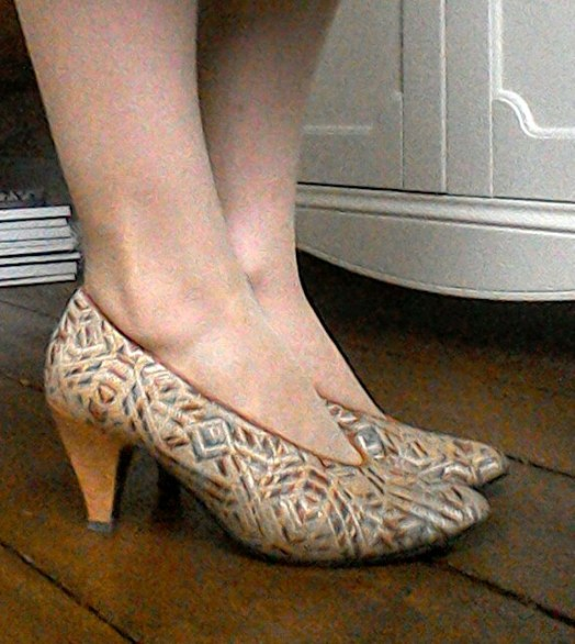 Art Deco pattern vintage heels