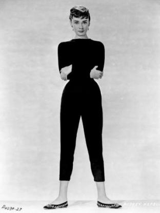 Audrey Hepburn in black cropped trousers