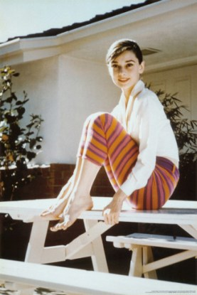 Audrey Hepburn in striped cropped trousers