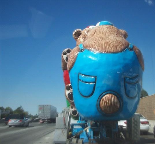 Giant Blue Bear on 405 Freeway Los Angeles | The Girl Next Door is Black