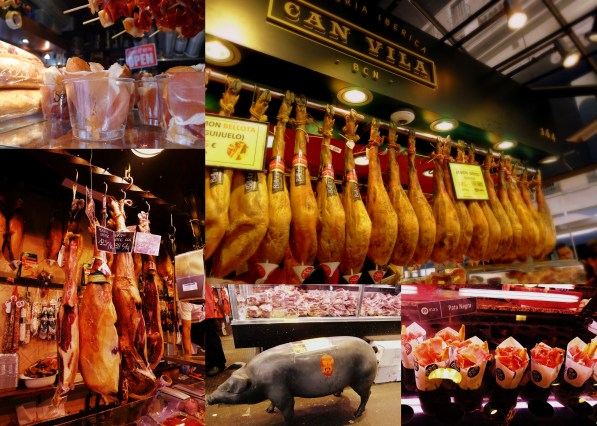 Ham is kind of a big thing in Spain and that was on display at the La Boqueria market in Barcelona. The market was huge and many stands were serving some form of ham: burritos, sliced, shots, sandwiches, etc. Jamon Iberico is what Spain is known for and it is very, very good and comparatively cheap compared to when I've had it in the US. I'm going to miss eating all the fine ham.