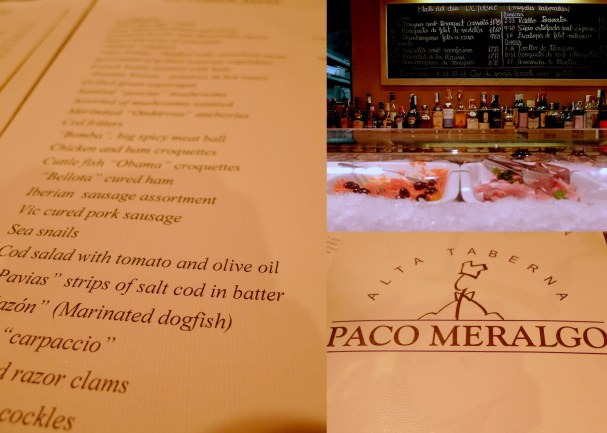 "Our first night in Barcelona, we ate dinner at Paco Meralgo, at my friend's recommendation. Here is where we discovered many restaurants have menus in both English and Catalan (and/or Spanish). At the top of the menu photo you can see a dish called ""Cuttlefish 'Obama' croquettes"". I don't know what Obama had to do with those croquettes, but they were mighty tasty. We entered around 9:30pm on a Tuesday night and the resturant was pretty packed with a lively group of people. We were lucky enough to score two seats at the bar, seated next to a French-speaking couple, who spoke what sounded like good Spanish, to the servers."