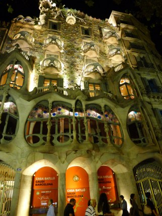 Antoni Gaudi's, Casa Batllo. Majestic to see at night. I was mesmerized by the light, color and detail.