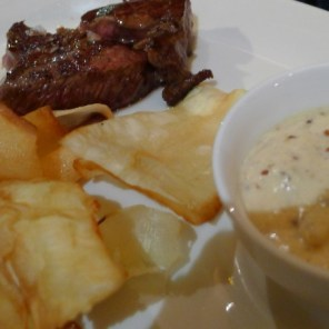Veal with yucca chips