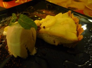"I understood the words ""tarta"", ""queso"", and ""manzana"" and figured we'd get some kind of cheesecake. That's kind of what this was...a tart with cream cheese and baked apples - not the cheesecake I was expecting, but still very good."