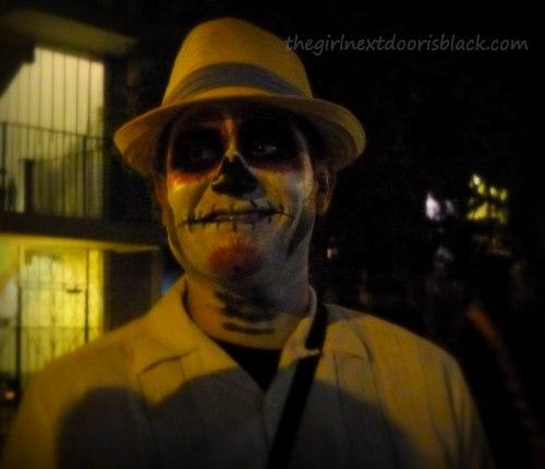 Man in Sugar Skull Makeup Day of the Dead   The Girl Next Door is Black