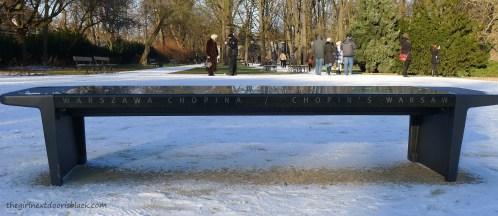 Chopin's Warsaw Bench Łazienski Park Warsaw   The Girl Next Door is Black