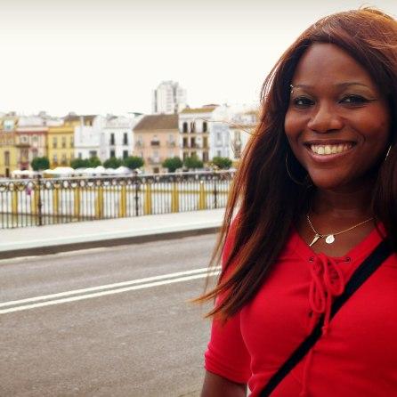 Keisha on the Triana Bridge