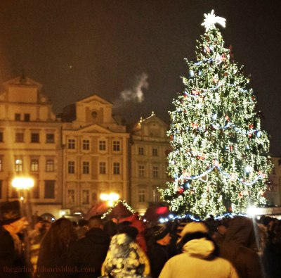 Christmas Tree in Prague Old Town Square | The Girl Next Door is Black