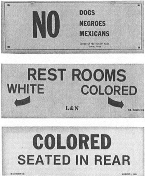 "Jim Crow Era Segregation Signs |  Today's racism doesn't look like it did 50 years ago. It's not always as obvious as using the ""n-word"". Saying you're colorblind doesn't mean you aren't racist. Being a nice person doesn't mean you can't hold racist beliefs. 